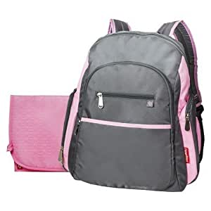 fisher price ripstop diaper bag backpack grey pink baby. Black Bedroom Furniture Sets. Home Design Ideas