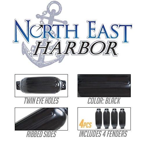 Twin Eye Ribbed Boat Pontoon Fender 8.5'' x 27'' 4pcs Inflatable Vinyl Mooring Bumpers Guard Dock Docking - Black
