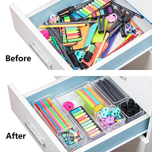 JARLINK 12 Pack Desk Drawer Organizer Trays with 4 Different Sizes Craft Makeup Kitchen Office Supplies Versatile Clear Drawer Organizers Storage for Bathroom Bedroom