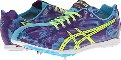 ASICS Men's Gunlap Track And Field Shoe,Blue Floral/Flash Yellow,11.5 M US