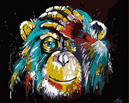 Komking DIY Oil Painting Paint by Numbers Kit for Adults Beginner, Colorful Orangutan Painting on Canvas 16x20inch Frameless