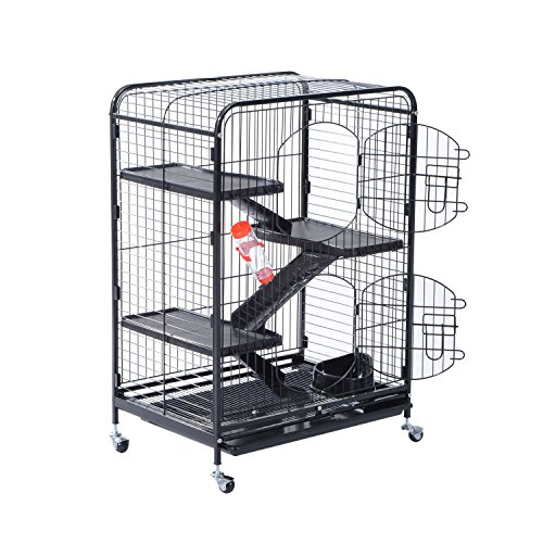 PawHut 37″ 4 Level Indoor Small Animal Cage Hutch – Black