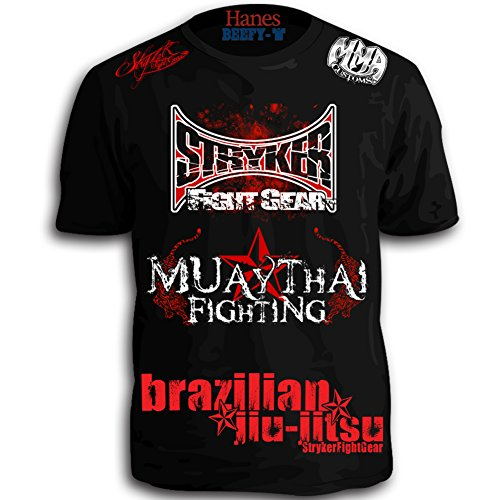 Walk Out Mma Shirt (Stryker Muay Thai Fighting Signature Walkout Sponsored Shirt W Tapout Sticker (Large))
