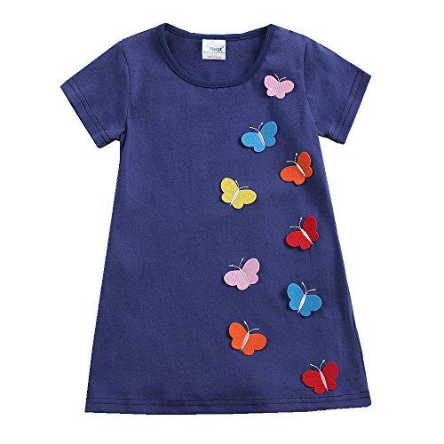 Juxinsu Toddler Girls Cotton Summer Short Sleeve Butterfly Dresses for Baby Girl Kids Clothes 1-6 Years (5t, AS6463-Navy) by Juxinsu