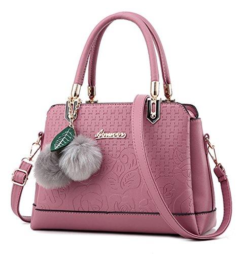 NUCLERL PU cuero medio Zip Tote Bag con pequeña pelusa colgante Girls bolso de escuela para compras rosa Rosado