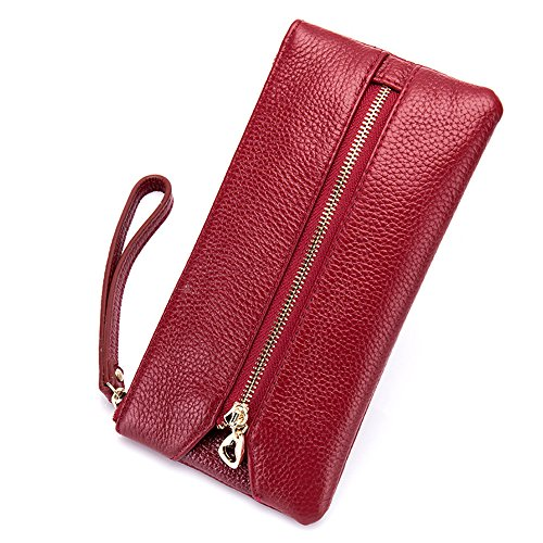 Small Cell Phone Holder - Aladin Leather Wristlet Wallet with Cell Phone Holder, Key Hooks and Card Slots Iphone 7 Plus 6S Galaxy S7 Note 5 for Women Red