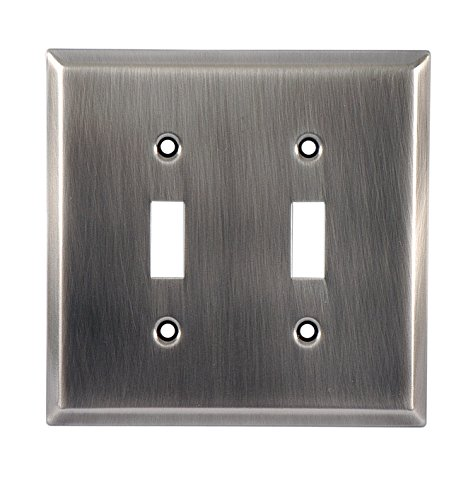 GE 57291 Faux Chrome Traditional Double Switch Wall Plate (Switch Chrome Dimmer)