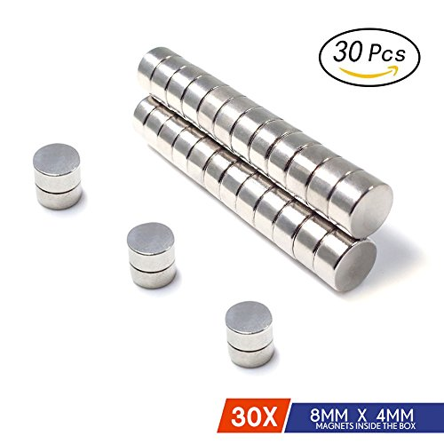 Premium Refrigerator Magnets By JACK CHLOE, 30Pcs 8MM x 4MM Stainless Steel Craft Magnets, Durable Cylinder Magnets For Multi-Use, Approximately 3/10