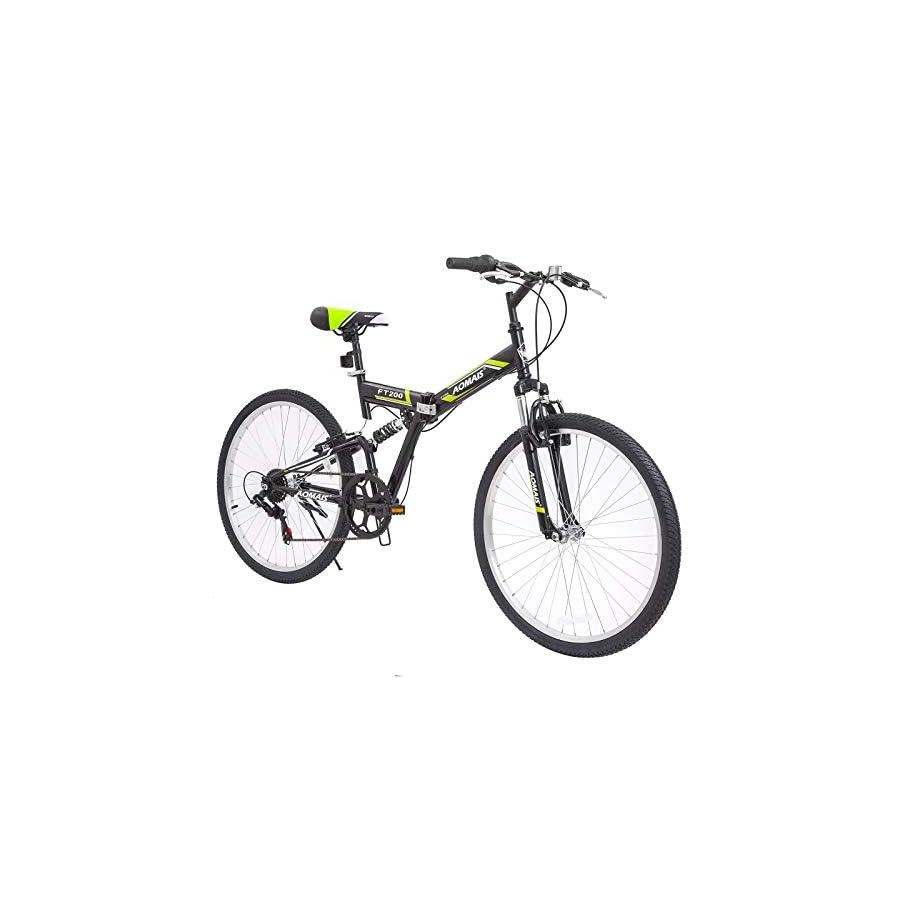 Murtisol Folding Mountain Bikes 26'' Foldable Bikes with Softtail Full Suspension & Designed Folding Fork & Adjustable Seat & 7 Speeds Shimano Derailleur