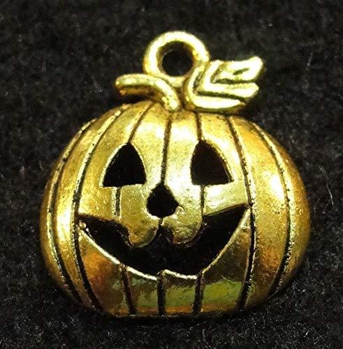 10Pcs. Tibetan Antique Gold Halloween ''Jack O' Lantern'' Pumpkin Charm Drops HW18 Crafting Key Chain Bracelet Necklace Jewelry Accessories Pendants -