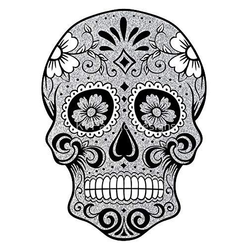 LA STICKERS Sugar Skull Glitter - Sticker Graphic - Auto, Wall, Laptop, Cell, Truck Sticker for Windows, Cars, Trucks