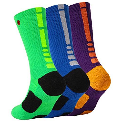 (3street Football Socks Adult Prime, Unisex Dri Fit Breathable & Lightweight Work Athletic Mid-Calf Socks Odor Resistant Running Basketball Socks with Reinforced Heel & Toe Blue Green Purple 3 Pairs L)