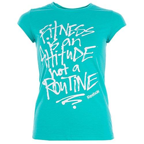 T-shirt ajusté Reebok Attitude pour dame en turquoise