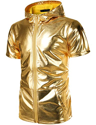 - ZEROYAA Men's Metallic Golden Zip Up Short Sleeve Hoodie T Shirt with Kangaroo Pocket ZLSV108 Gold X-Large