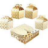 Pack of 36 Paper Treat Boxes - Gable Favor Boxes, Fun Party Play Goodie Boxes, 3 Dozen Bright Golden Birthday Party, Shower Loot Gift Boxes, 4 Designs, 3.7 x 3.2 x 3.7 inches