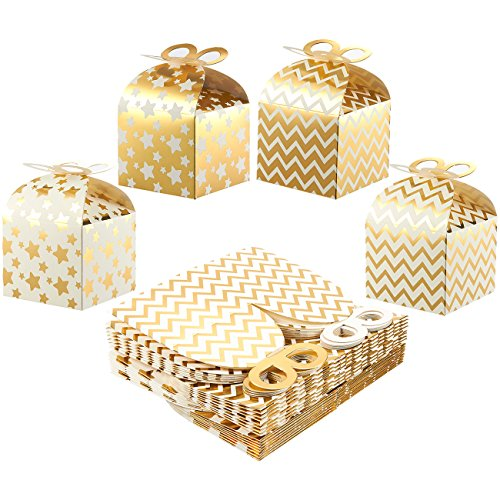 Pack of 36 Paper Treat Boxes - Gable Favor Boxes, Fun Party Play Goodie Boxes, 3 Dozen Bright Golden Birthday Party, Shower Loot Gift Boxes, 4 designs, 3.7 x 3.2 x 3.7 (Favor Gable Boxes)