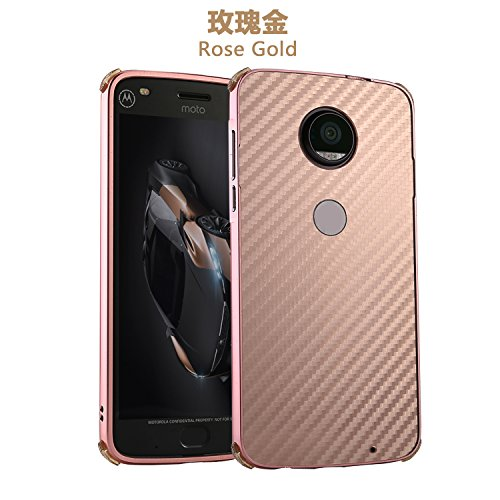 Price comparison product image Moto Z2 Play Case, DAMONDY Luxury Carbon Fiber Design Ultra thin Imitation Metal Brushed Premium Aluminum Shockproof Protective Bumper Hard Back Case Cover for Motorola Moto Z2 Play 2017 -Rose