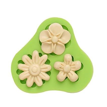 gaomoju y NY Cake de flores tres agujeros molde de silicona Fondant Moldes Azúcar Craft flores
