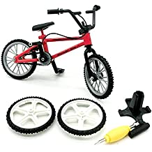 Techinal Finger Bike, Mini Finger Bicycle, Metal Cool Toy, Creative Toy for Finger Panda Squirrel Monkey Collection, Best Christmas Gift (red)