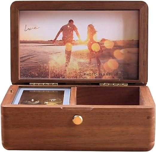 JunMei Caja Musical Personalizada de Madera Vintage con su Foto ...