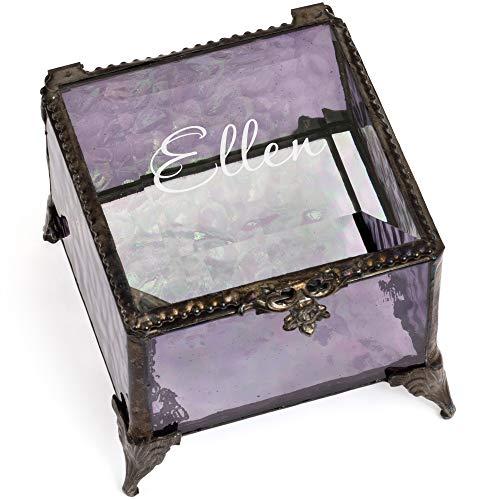 J Devlin - Ellen Series - Personalized Purple 3x3 Engraved Glass Box Keepsake Decorative Trinket Jewelry Box Gift (Purple) ()