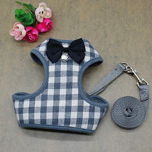 DishyKooker Dog Harness Leash Set Pet Cat Vest Harness with Bowknot for Small Puppy Dogs Chihuahua Yorkies Pug Gray Grid L
