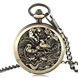 Eastern Lovebirds Pocket Watch, Skeleton Automatic Mechanical Pocket Watches, Gifts for Groom Bride