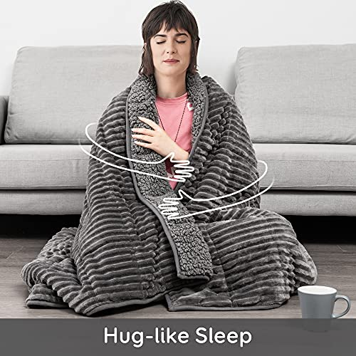 Sherpa Fleece Weighted Blanket for Adult, 15lbs Thick Fuzzy Bed Throw with Ribbed Stripes, Dual Sided Cozy Fluffy Weighted Blanket with Premium Beads for Bed, Couch, 60 x 80 Inches, Grey