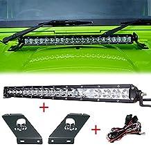 Racbox 1 X 20'' Inch 100W LED Light Bar + Hood Mounting Brackets for 07~17 Jeep Wrangler