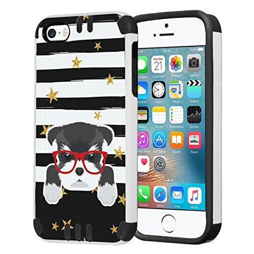 - Capsule Case Compatible with iPhone 5, iPhone 5S, iPhone SE [Hybrid Dual Layer Slim Defender Armor Combat Case Black White] - (Miniature Schnauzer)