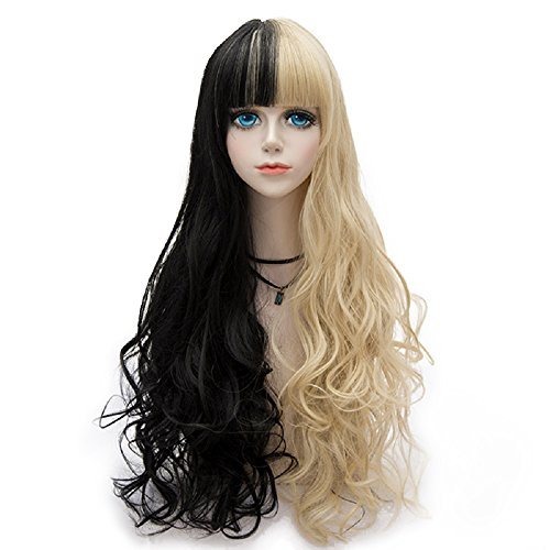Probeauty Halloween Collection 75cm Mix Color Gothic Long Curly Wavy Ombre Hair Synthetic Cosplay Wig+Cap (75cm Curly Full Bangs Black Mix Blonde) -