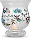 Perfectly Paisley Love Crackled Glass Candle Holder, 5-1/2-Inch Tall, Inspirational Saying