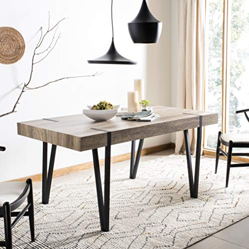Safavieh Home Collection Alyssa Rustic Midcentury Wood Top Dining Table, Canyon Grey