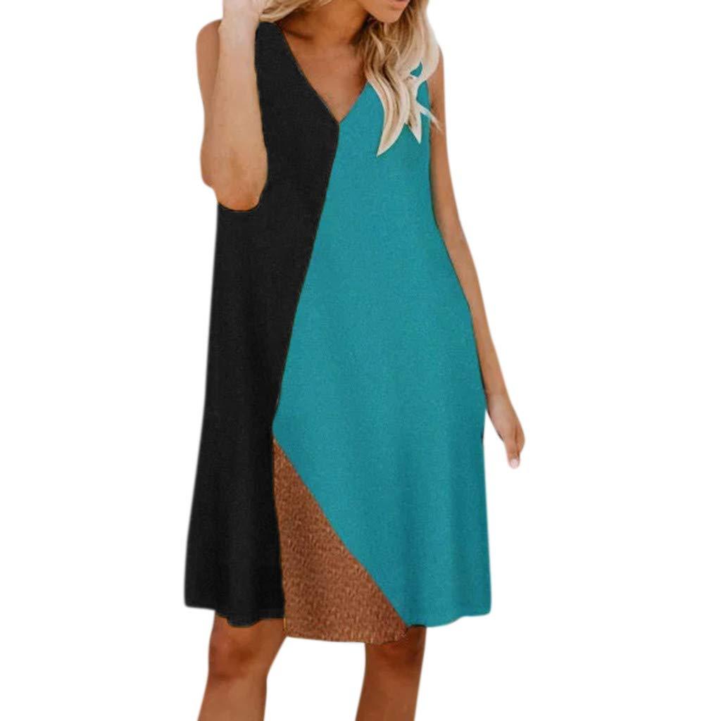 aiNMkm Loose Dresses,Womens Summer V Neck Casual Sleeveless Vest Soild Splice Patchwork Mini Dress,Black,L