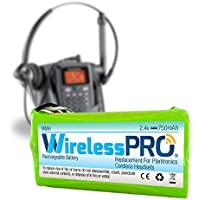 Wireless Pro® Premium Replacement Rechargeable Battery for Plantronics Cordless Headset Phone CT-14 - 2.4 Volt Ni-MH 750mAh - Compatible with Plantronics 80639-01 81087-01 PLN-8108701 BATT-CT14 - 1PK