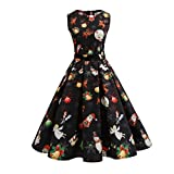 Women Dress Christmas Daoroka Women's Christmas Gifts Fit and Flare Cocktail Vintage Ball Gown Dress Sleeveless Pin Up Swing Lace Santa Claus Print Party Dress For Christmas/New Year (3XL, Black2)
