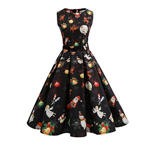 Women Dress Christmas Daoroka Women's Christmas Gifts Fit and Flare Cocktail Vintage Ball Gown Dress Sleeveless Pin Up Swing Lace Santa Claus Print Party Dress For Christmas/New Year (3XL, Black2) - Christmas Pin Up