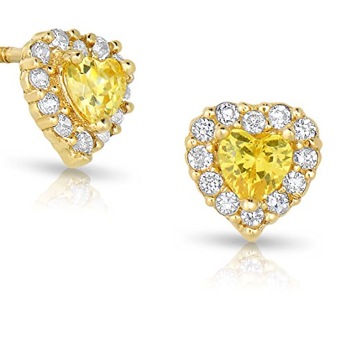 Tiny 14k Yellow Gold Heart Stud Earrings Cubic Zirconia Birth Month with Screw Backs (Gold November Birthstone Earrings)