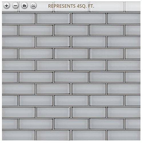 Ice Bevel Subway 11.73 in. x 11.73 in. x 8 mm Glass Mesh-Mounted Mosaic Tile (2''x6'' Mosaic Chips)