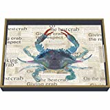 Paperproducts Design Wooden Serving Tray Displaying Best Blue Crab Design, 16 x 12'', Blue