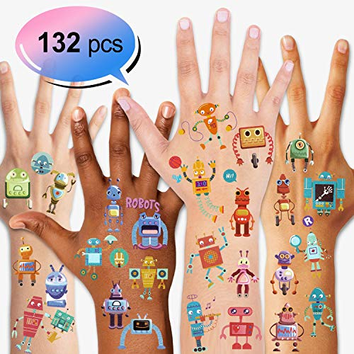 Konsait Kids Tattoos Robot Temporary Tattoos for Girls Boys Children's Birthday Party Bag Filler Gift Idea Party Favors, 132PCS (Best Knuckle Tattoo Ideas)