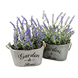 french country kitchen cabinets Heart To HeartButterfly Craze Purple Silk Floral Arrangements Faux Lavender Flower Plant Home Office Décor 2 Pc Set - with Grey Vases