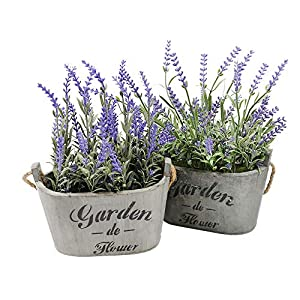 Heart To HeartButterfly Craze Purple Silk Floral Arrangements Faux Lavender Flower Plant Home Office Décor 2 Pc Set - with Grey Vases 34