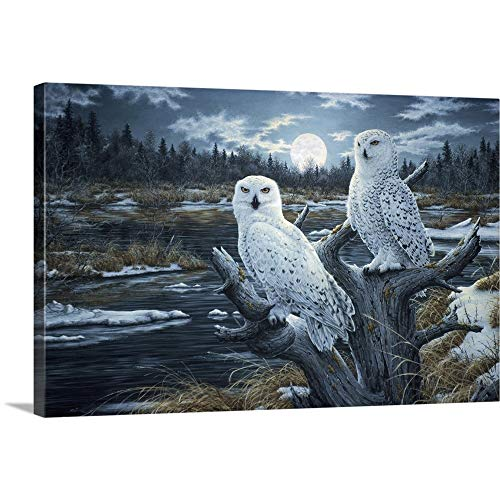 Snowy Owls Canvas Wall Art Print, 48 x32 x1.25