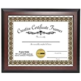 CreativePF [8.5x11mh] Mahogany Finish Diploma Frame Displays 8.5 by 11-inch Certificate, Graduation, University, Diploma Frames with Stand & Installed Wall Hanger
