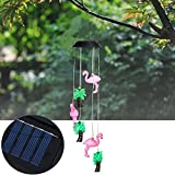 DAVITU Solar Powered 6LEDs Color Changing Animals Bird Wind Chimes Fairy String Light for Christmas Garden