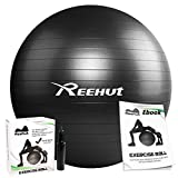 REEHUT Anti-Burst Core Exercise Ball w/Pump & Manual for Yoga, Workout, Fitness (Black, 75cm)