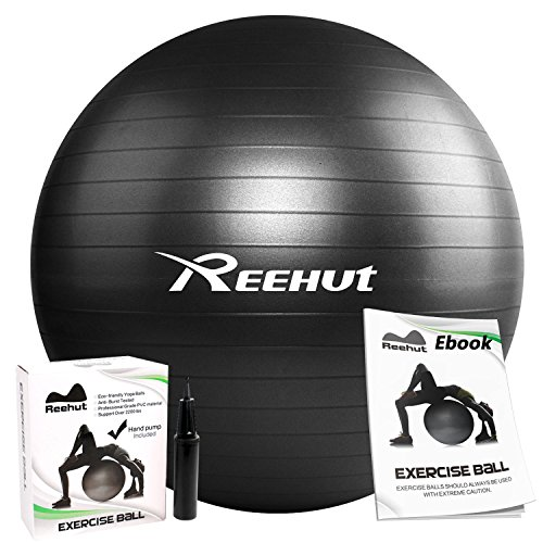 REEHUT Anti-Burst Core Exercise Ball with Pump & Ebook for Yoga, Stability, Exercise, Health- 45cm 55cm 65cm 75cm 85cm – DiZiSports Store