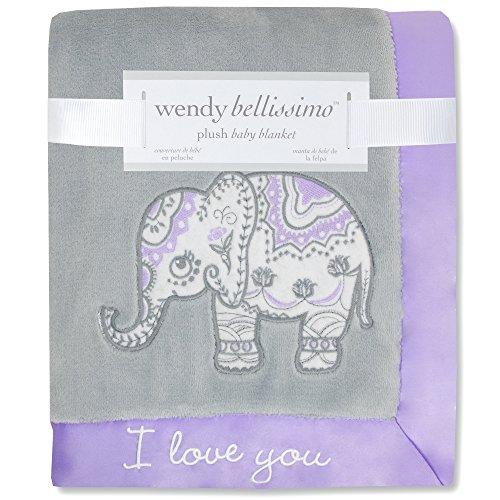 Wendy Bellissimo Super Soft Plush Baby Blanket - Elephant Baby Blanket from the Anya Collection in Lavender and Grey (Purple Elephant)