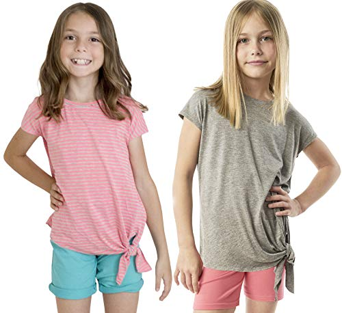 KIDPIK Girls T Shirts 2Pack Tie Front Top (Grey/Pink)-XL